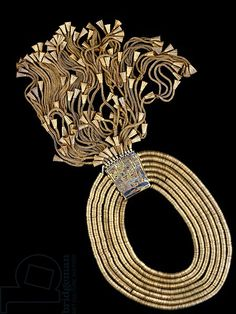 This necklace was originally found on the mummy of Psusennes I. cairo egyptian museum-heavy gold necklace of Psusennes I-JE 85751a_B-CEM-30-08 09 007; gold, lapis lazuli; H. 6.2cm; 21st Dynasty, Third Intermediate Period.