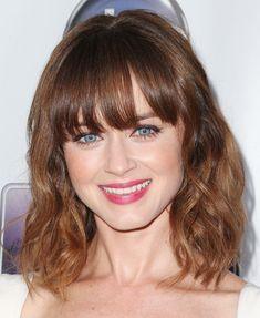 Alexis Bledel Medium Wavy Cut with Bangs - Shoulder Length Hairstyles Lookbook - StyleBistro