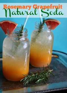 Recipe for Rosemary Grapefruit Natural Soda - summer entertaining ideas | CeceliasGoodStuff.com | Good Food for Good People