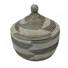 585-289---African Woven Basket - White & Silver - Buy African DECORATIVE STORAGE CONTAINERS - Berbere World Imports Decorative Storage, Storage Containers, Home Accessories, Basket, African, Amazing, Silver, How To Make, Diy