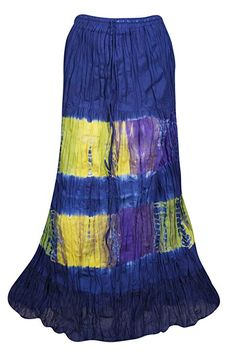 8df4468010 Mogul Interior Womens Blue Maxi Skirts Tie Dye Cotton Gauze A-line Flare  Skirt S