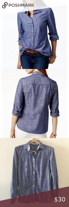 New $129 Polo Ralph Lauren Women Denim Chambray Shirt Dress M