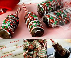 Chocolate Dipped Marshmallow Candy Cane Sticks or use a pretzel rod and add a sucker stick and make them suckers