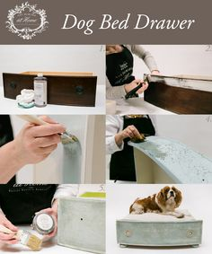 DIY dog bed using Amy Howard at Home One Step Paint, Toscana Milk Paint, and Light Antique Wax. Refer to our blog for detailed instructions!