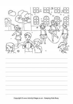 There is so much detail in this delightful school playground story paper - kids can write about what they see or make up a story using the picture as inspiration, and then colour it in. Composition Writing, Picture Composition, Narrative Writing, Writing Skills, Creative Writing Worksheets, English Creative Writing, Cool Writing, Picture Comprehension, Reading Comprehension Passages