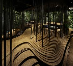 restaurant architecture Ryoji Iedokoro Architecture Office have created a mesmerising interior for a yak. Ryoji Iedokoro Architecture Office have created a mesmerising interior for a yakiniku restaurant in the heart of Tokyos Roppongi district. Architecture Panel, Commercial Architecture, Architecture Office, Architecture Details, Landscape Architecture, Chinese Architecture, Futuristic Architecture, Forest Restaurant, Restaurant Design