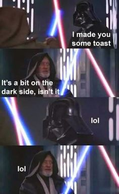After 20 + years, Obi-Wan and Anakin can now joke about things burning... #StarWars humor