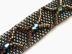 peyote+stitch+seed+bead+patterns | Seed Bead Bracelet, Peyote Stitch, Swarovski Crystal, Delica, Metallic ...