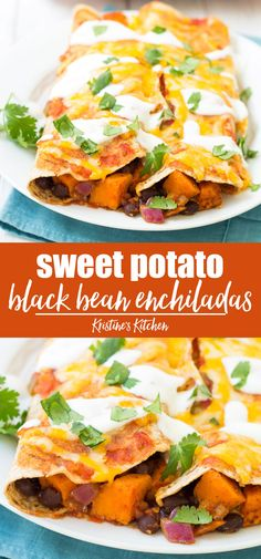This is the best Vegetarian Enchiladas Recipe! Filled with sweet potato and black beans, these easy enchiladas are healthy and full of flavor! Leave out the cheese for vegan enchiladas. The only veggie enchilada recipe you need! Vegan Enchiladas, Sweet Potatoe Enchiladas, Bean And Cheese Enchiladas, Black Bean Enchiladas, Clean Eating Snacks, Healthy Eating, Easy Enchilada Recipe, Veggie Recipes, Healthy Recipes