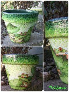 . Crafts To Make, Decoupage, Planter Pots, Gardening, Ceramics, Make It Yourself, House, Beautiful, Ideas