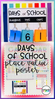 Keep track of the Days of School and introduce place value with this printable poster that is perfect for your calendar bulletin board!  Mount onto your favorite borders as shown to coordinate with your calendar theme!  This is great for kindergarten and first grade number sense math activities!