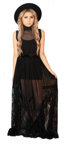 HEX Dress – Sin Clarity Clothing Sinclarityclothing.com Pre-order lace, mesh, maxi dress.
