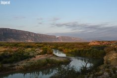 View along the Rio Grande River towards Santa Elena Canyon. Big Bend National Park, Texas