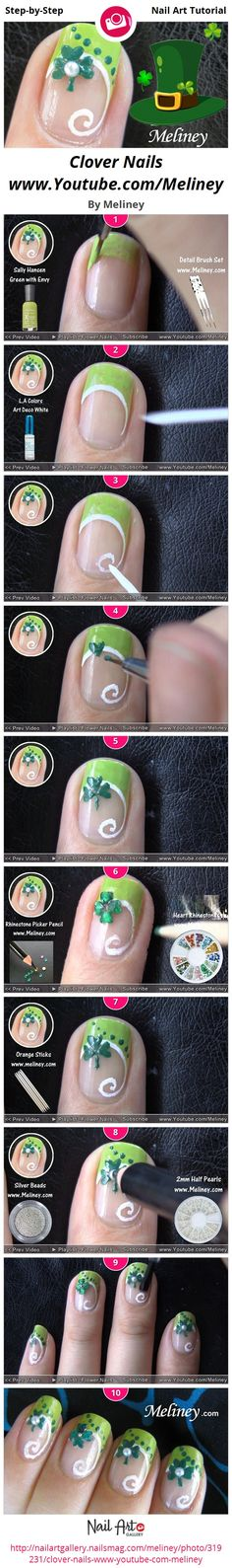 St Patrick's Clover Nail art - how to