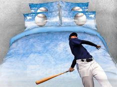 Athlete Try to Hit Baseball Blue Sky Digital Printed Cotton Bedding Sets/Duvet Covers Sky Digital, Printed Cotton, Bedding Sets, Digital Prints, Duvet Covers, Athlete, Product Launch, 3d, Baseball