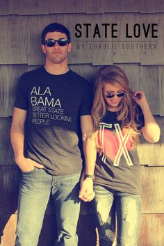 Show those around you, that you are proud of where you came from or where you've ended up. State Love by Charlie Southern (Great State Tee- Alabama + Retro Heart Tee- Texas)