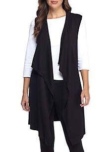 New Directions® Drape Front Grommet Lace Up Vest