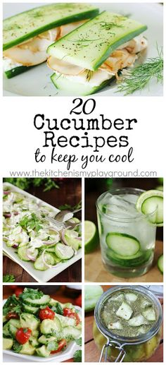 There are so many ways to enjoy those fabulous garden-fresh summer cucumbers. Check out this collection of 20 Cucumber Recipes to Keep You Cool to get just a tiny touch of cool-as-a-cucumber inspiration. Summer Recipes, New Recipes, Cooking Recipes, Favorite Recipes, Cucumber Recipes, Vegetable Recipes, Salad Recipes, Healthy Snacks, Salads