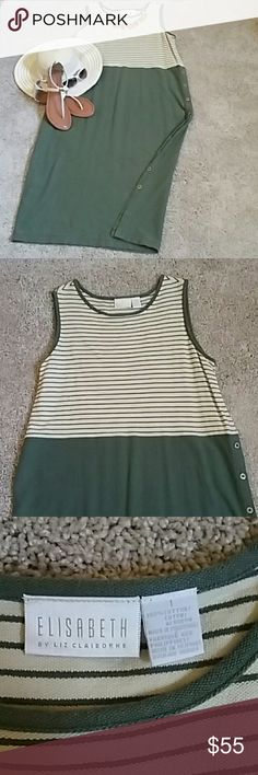 Elisabeth super comfy Liz Claiborne dress This Elisabeth by Liz Claiborne dress has a green skirt and the top has horizotal green stripes with the cream background. 100% cotton and Liz & Co. buttons on the left side that can be opened all the way  up. Dresses Maxi