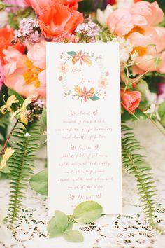 wedding menu http://www.weddingchicks.com/2013/10/18/colorful-garden-wedding-ideas-2/
