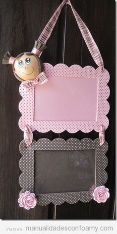 little girl's room hanging frame/chalkboard.just adorable w/girl head in clay Foam Crafts, Diy And Crafts, Paper Crafts, Diy For Kids, Crafts For Kids, Foto Baby, Art N Craft, Diy Frame, Diy Gifts