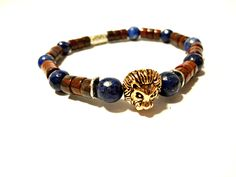 Mens Lion Head Bracelet, Mala Healing Bracelet, Men Jewelry, Stretch Bracelet, Masculine Strength Bracelet, https://www.etsy.com/listing/263400228/fathers-day-gift-mens-lion-head-bracelet