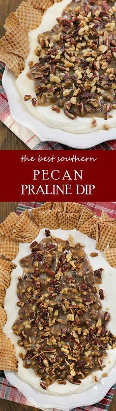 The best southern Pecan Praline Dip!  Serve this for a fall dessert your guests will love! #falldessert #trendingfood #pecan #louisiana #dessertdip #chantillyfrosting
