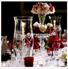 Beautifully etched Crystal and cranberry glass on this elegant table setting. By Appointment to HRH the Prince of Wales, William Yeoward Pearl. Elegant Table Settings, Lantern Centerpieces, Crystal Stemware, Cranberry Glass, Christmas Table Settings, Elegant Christmas, Create And Craft, Centre Pieces, Merry And Bright