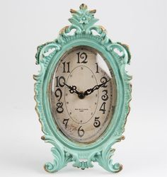 Boudoir Old Romance Oval Clock Duck Egg