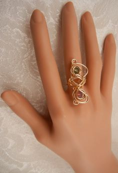 Gold Statement Ring w Swarovski crystals by ShiriDaniella on Etsy, $18.00