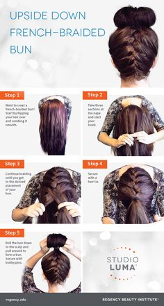 Try this take on the top-knot trend! A French-braided bun! | #hairstyle #hairtutorial