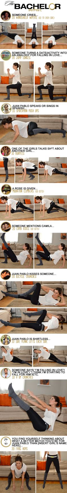 Perfect! And I'd never have to do frog hops because I don't like Juan Pablo