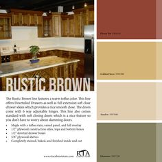 Rustic Kitchen Colors Color Palette To Go With Our Brown Cabinet Rustic Paint Colors, Rustic Color Palettes, Room Paint Colors, Exterior Paint Colors, Paint Colors For Home, House Colors, Rustic Painting, Colour Palettes, Paint Palettes