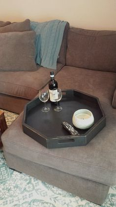 Wooden Octagon Tray - Serving Tray, Ottoman Tray, Coffee Table Tray