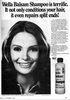 Jaclyn in an ad for Wella Balsam Shampoo, 1976.