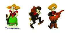 Hilos en nogada, rompecabezas, madera, adelita, mariachi, iman, dia de muertos