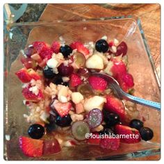 "Apple berry ""oatmeal"" made from grated apples and warm water"