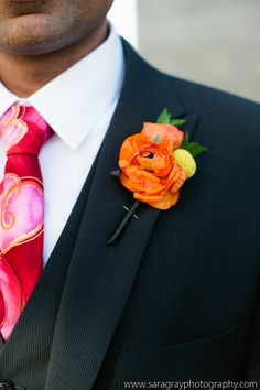 Ranunculus and billie ball boutonniere