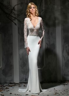 Wedding Dresses, Bridesmaid Dresses, Prom Dresses and Bridal Dresses Impression Wedding Dresses - Style 10340/10340L [10340] - Impression Wedding Dresses, Fall 2015. Hollywood glamour is epitomized in this slim lace and chiffon wedding gown, featuring a dramatic V-neckline and long sleeves. A jeweled band accents the natural waistline. The sexy back is a dramatic V and the chiffon skirt has a chapel length train. Also available with Lined