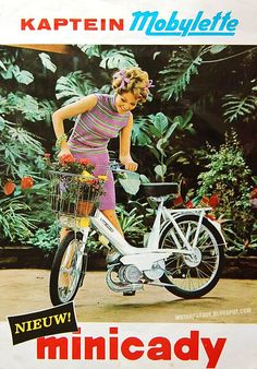 theswingingsixties: Kaptein Mobylette Minicady motorised bicycle advertisement, Holland, 1960s.