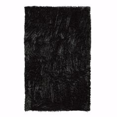 Home Decorators Collection Faux Sheepskin Black 4 ft. x 6 ft. Area Rug - 5248220210 - The Home Depot