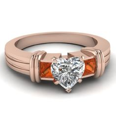 1.15 Ct Heart Shaped Diamond & Orange Sapphire Engagement Ring Cut:Very Good GIA 14K | Your #1 Source for Jewelry and Accessories
