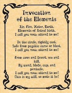 Invocation of the Elements, Book of Shadows Pages, BOS Page, Real Wiccan Spell