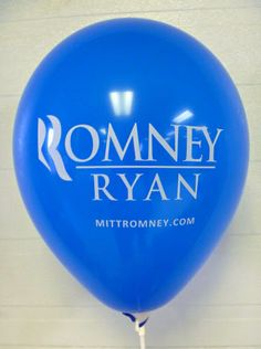 Romney campaign balloon.  Simple blue balloon that was distributed by the thousand air-filled on cups and sticks. www.customballoonsusa.com