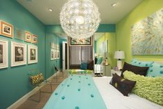 Modern Green Wall Color Themes and Amazing Lighting in Teenage Girls Bedroom Design Ideas