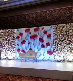 Engagement Stage Decoration, Wedding Hall Decorations, Wedding Reception Backdrop, Marriage Decoration, Wedding Mandap, Garland Wedding, Flower Decorations, Wedding Backdrops, Flower Wall