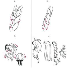 how to draw hair-ponytails, buns and braids! I need this!
