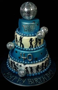 This is my personal favourite. I could do something like this with breakdancing silhouettes as well as regular disco dancers. For 80 people, I would suggest 2 tiers plus the disco ball and that would be £150. The disco ball is quite fiddly, but looks amazing. If you prefer I can do 3 tiers without the disco ball in this style for £120.