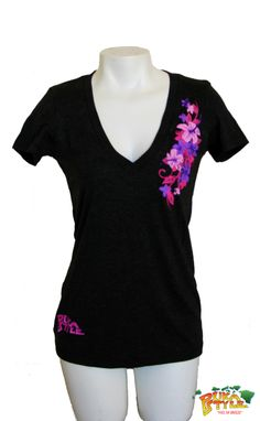 Womens Vintage Black Tri-Blend Short Sleeve
