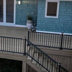 Black Stair Railing, Metal Deck Railing, Outdoor Stair Railing, Front Porch Railings, Black Stairs, Metal Stairs, Hand Railing, Patio Stairs, Roof Deck